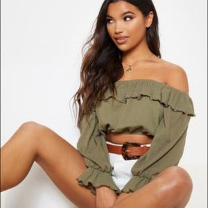Khaki Woven Frill Bardot Long Sleeve Crop Top